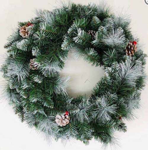 WREATH PVC LEAF + BOTTLEBRUSH WHITE TIPS 60CM 110TIPS