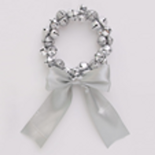 SKU473 15cm Silver Bell Wreath with Ribbon