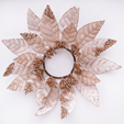 SKU049 Gold Poinsettia Candle Wreath 40CM