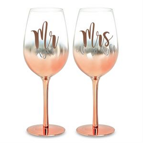 MR AND MRS ROSE GOLD OMBRE WINE SET GOLD 430ML