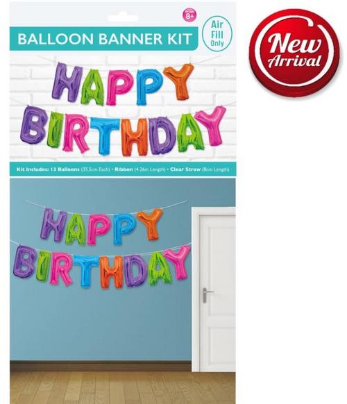Happy Birthday Balloon Banner Kit