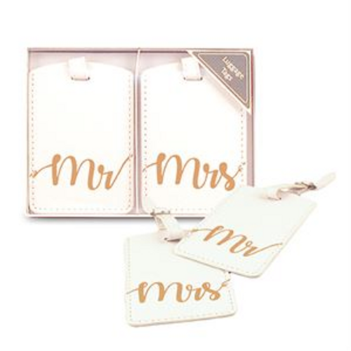 MR & MRS LUGGAGE TAGS GOLD/WHITE