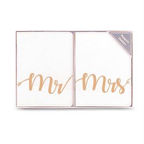 MR & MRS PASSPORT HOLDER GOLD/WHITE