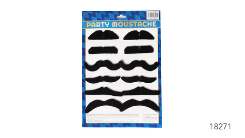 Moustache Set of 12 (Thick Black)