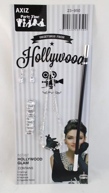 Hollywood Glmour Set, Necklace, Earrings, Bracelet, Cigarette Holder