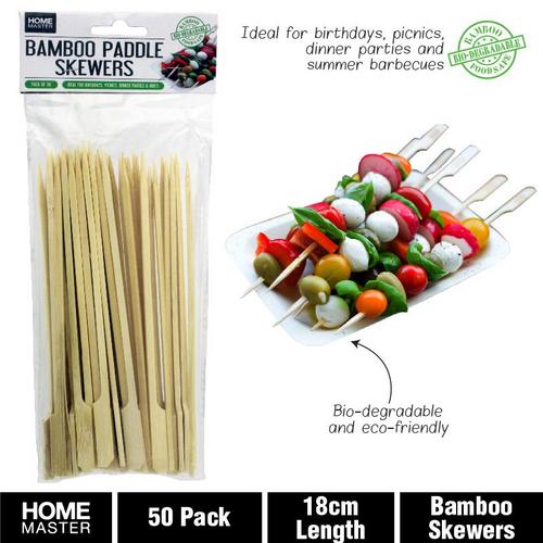 Skewers Bamboo Paddle 18cm 50pk
