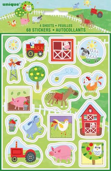Farm Animals 4 Sticker Sheets
