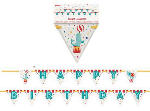 Circus Carnival Happy Birthday Flag Banner 2 Pieces: Total Length 3.35m (11')