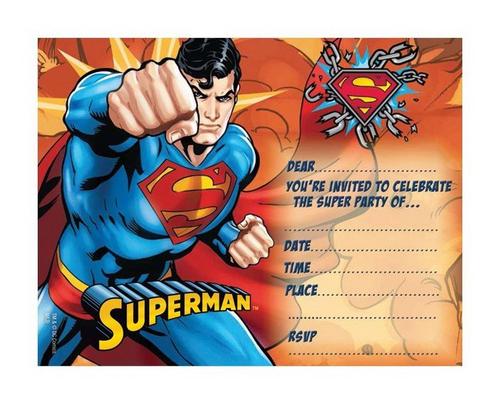 Superman Invitations 8pk