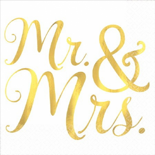 MR & MRS BEVERAGE NAPKINS - FOIL HOT-STAMPED