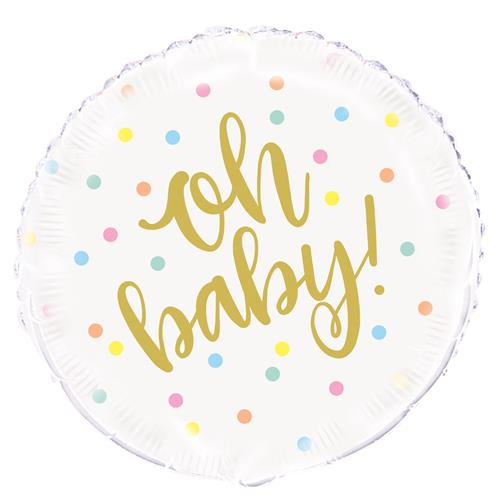 """Oh Baby 45cm (18"""") Foil Balloon Packaged"""