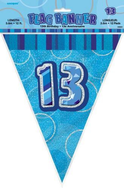 Glitz Blue Flag Banner - 13 3.65m (12')