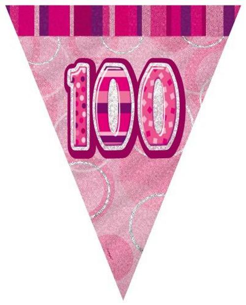 Glitz Pink Flag Banner - 100 3.65m (12')