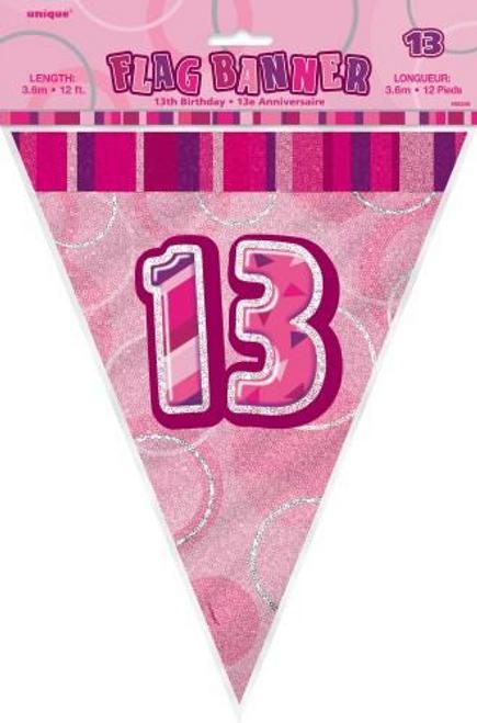 Glitz Pink Flag Banner - 13 3.65m (12')