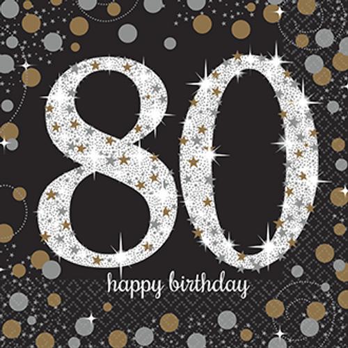80 happy birthday black napkins