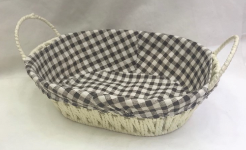 WEAVE BASKET W/LINING CHECK DSN 27X20X8CM OVAL