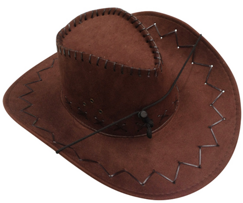 PARTY HAT COWBOY SYNTHETIC W/STITCHES 3COLS