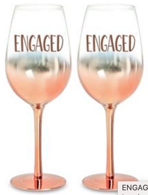 Engagement Wine Glass Set Rose Gold