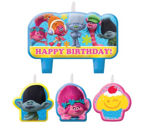 Trolls HBD Mini Moulded Candle Set