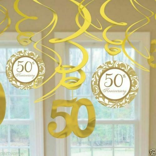 50 Years Anniv 50th Anniv Gold Hang Swirl Deco