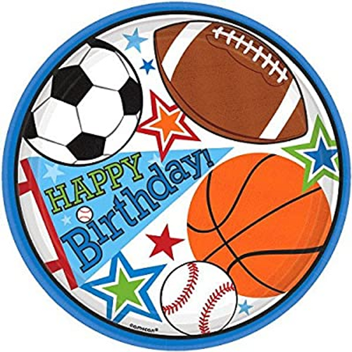 Sports Party VP 7in/17cm Rnd Plates