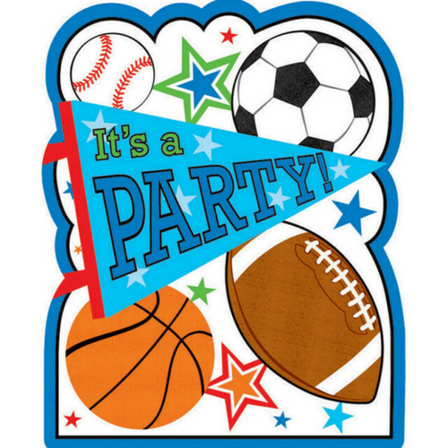Sports Party PCard Invites