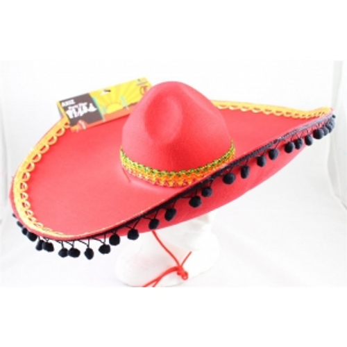 RED MEXICAN HAT WITH BLACK POM POMS