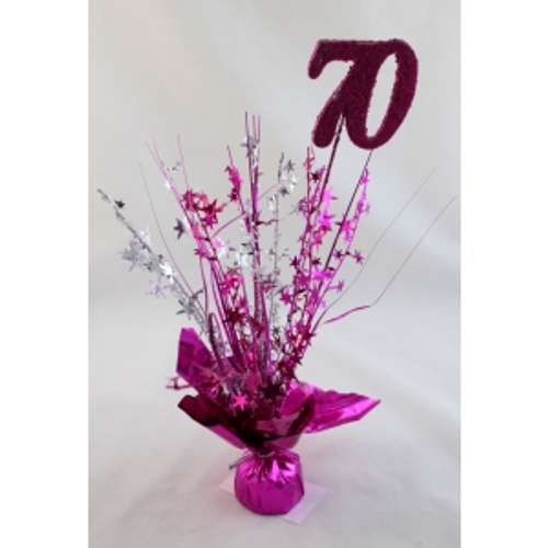 AGE 70  HOT PINK BALLOON WEIGHT W/SILVER HOT PINK STARS & GRASS