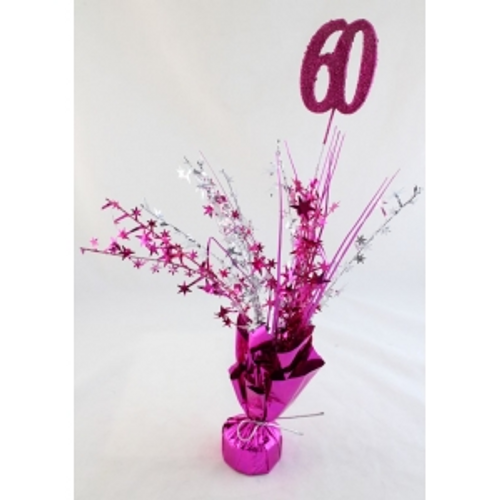 AGE 60 HOT PINK  BALLOON WEIGHT SILVER  , HOT PINK STARES & GRASS