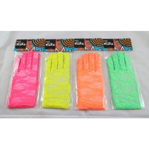 ASSD NEON  SHORT LACE GLOVES IN POLYBAG W/ HEADERR CARD