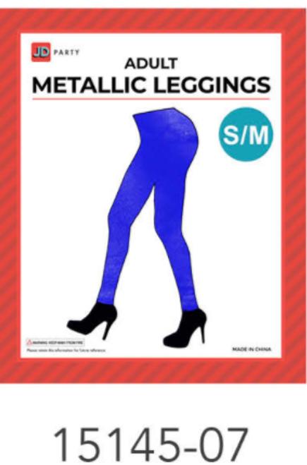 Adult Metallic Leggings (S/M) (Blue)