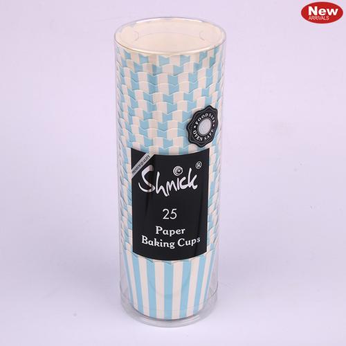 25 Blue Stripe Baking Cups