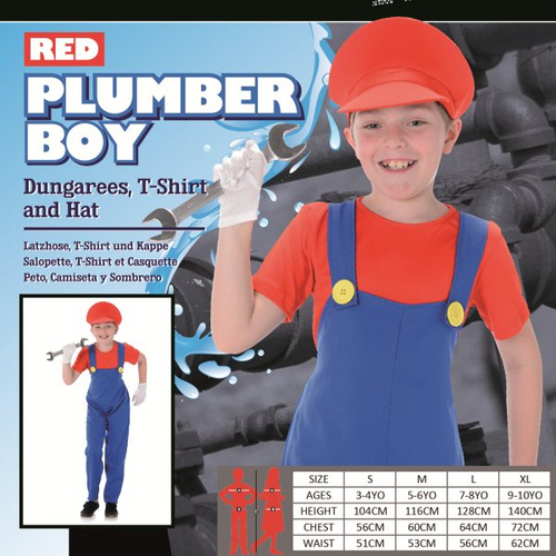 KIDS PLUMBER RED SIZE L