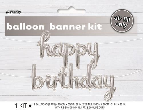 H/B'DAY FOIL BLN BANNER-SILVER