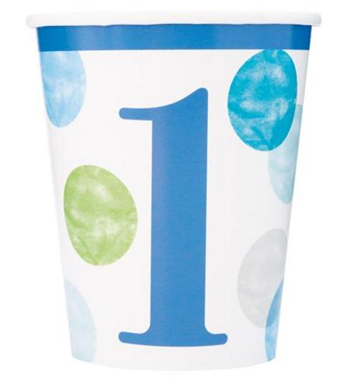 BLUE DOTS 1st B/D 8 x 9oz CUPS