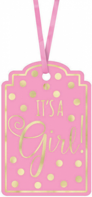 Baby Shw Pink Foil-Stamped Ppr Tags - Pink