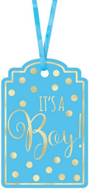 Baby Shw Blue Foil-Stamped Ppr Tags - Blue
