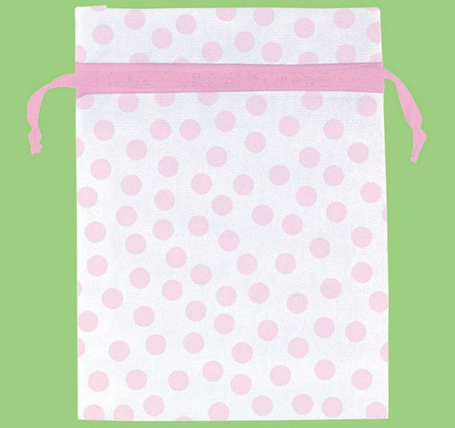 Baby Shw Pink Pink Dots Organza Bags 12ct