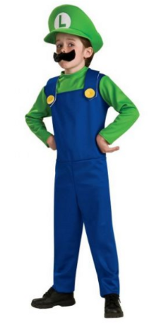 BOYS LUIGI COSTUME IN PVC BAG W/COLOUR CARDS, CAP , JUMPSUIT