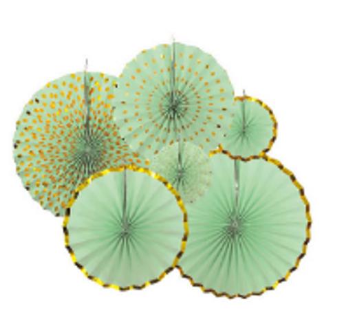 Decoration Fans Metallic Rim (Green)