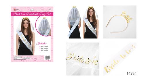 Bachelorette Party Set Veil, Headband and Sash Set