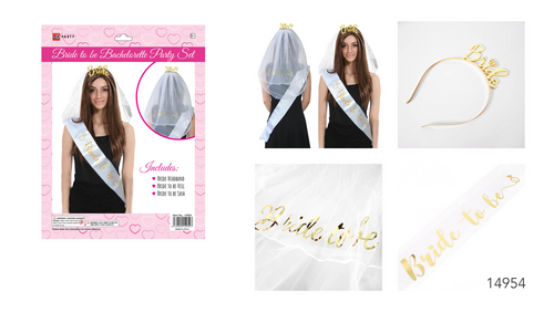 Bachelorette Party Set Veil, Headband and Sash Set
