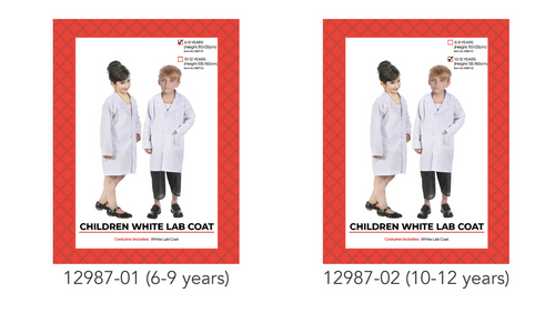 Children White Lab Coat Costume (6-9 years)