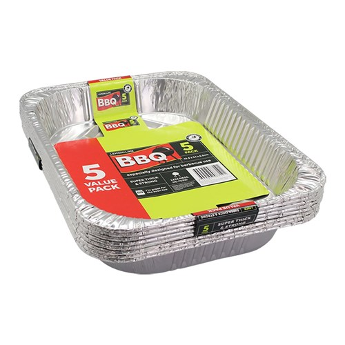 FOIL TRAY LARGE VALUE 5PK 45.5X34X6.5CM