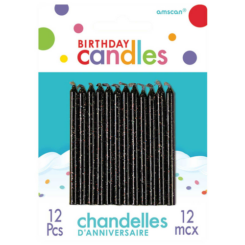BDAY Candle Gltr Black