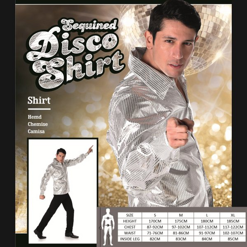 SILVER SEQUINED DISCO SHIRT SIZE XL