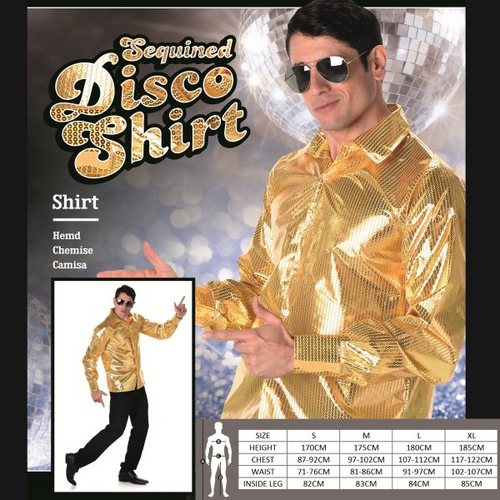 GOLD SEQUINED DISCO SHIRT SIZE-XL