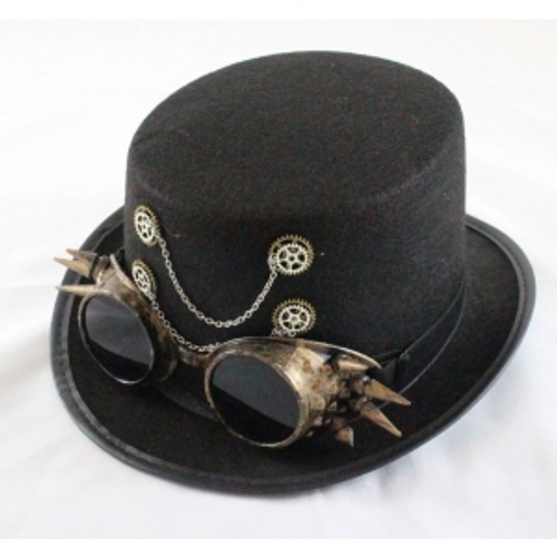 BLACK STEAM PUNK , TOP HAT W/CHAINS  & SPIKY GOGGLES