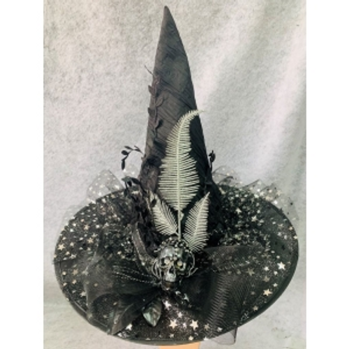 WITCHES HAT W/SILVER LEAF AND FLOWER