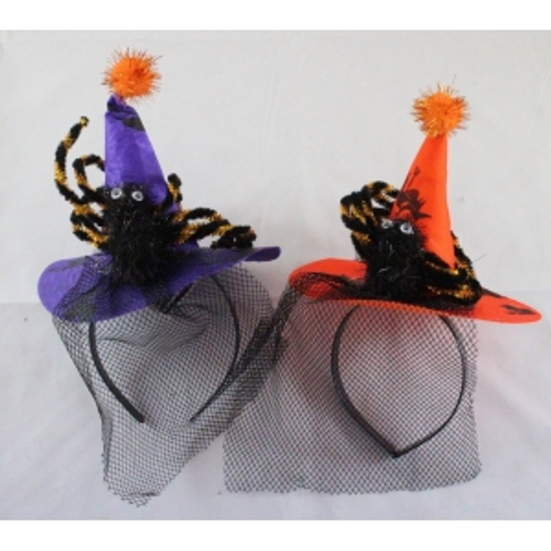 HEADBAND W/WITCHES HAT AND SPIDER 28CM